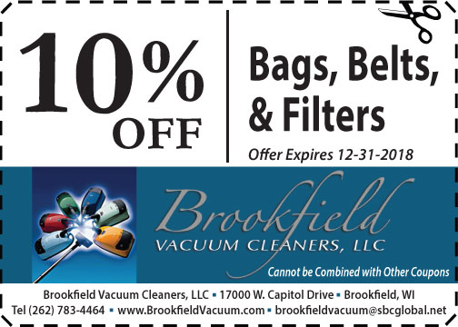 10% off Bags, Belts, Filters & Supplies - present coupon at Brookfield Vacuum Cleaners shop southeast WI area