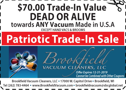 Coupon for $70 Trade-In Value at Brookfield Vacuum Cleaners shop southeast WI area